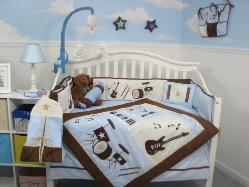 SoHo Blue and Brown Rock Band Baby Crib Nursery Bedding Set 13 pcs Included Diaper Bag with Changing Pad & Bottle Case