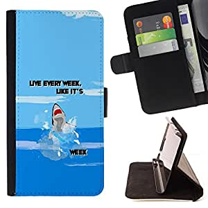 Week Ocean Funny Cartoon Blue - Painting Art Smile Face Style Design PU Leather Flip Stand Case Cover FOR Samsung Galaxy S6 EDGE @ The Smurfs