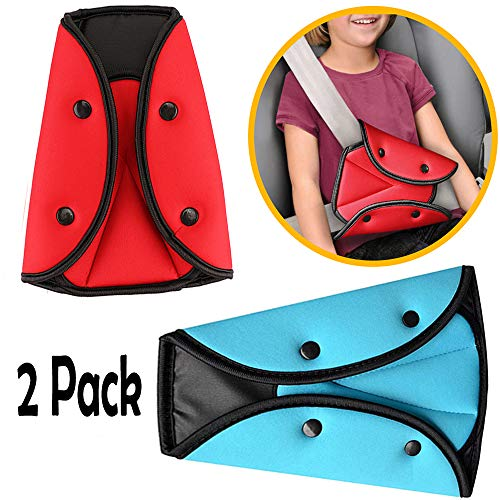 (2 Pack Seatbelt Adjuster for Kids Adults, Safety Seat Belt Covers Seat Belts Positioner Safe Vehicle Car Child Chest and Harness Cover Triangular Holder, Soft and Breathable (Random Color))