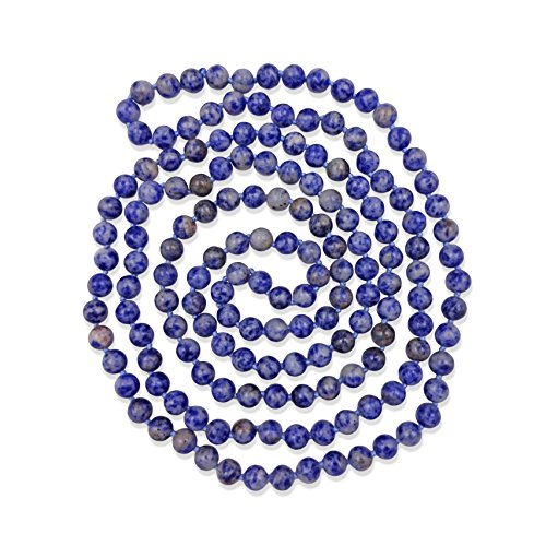 MGR MY GEMS ROCK! 60 Inch 8MM Polished Genuine Sodalite Multi-Layer Long Endless Infinity Beaded Necklace.