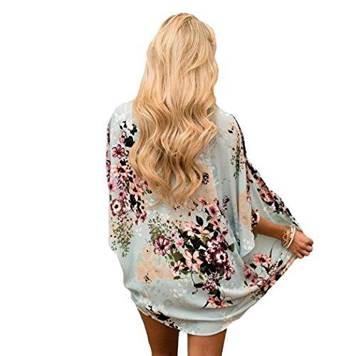fresca verde camisa manga suelta media Adeshop Casual mujeres moda floral Kimono verano chal Cardigan gasa xn66wzvC