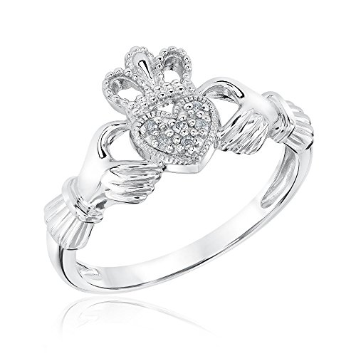 Sterling Silver and Diamond Claddagh Ring - Size 6