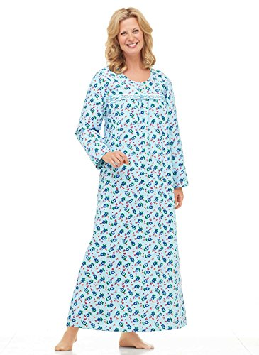 Long Flannel Nightgown (Printed Flannel Gown, Blue, Size Extra Large (5X))