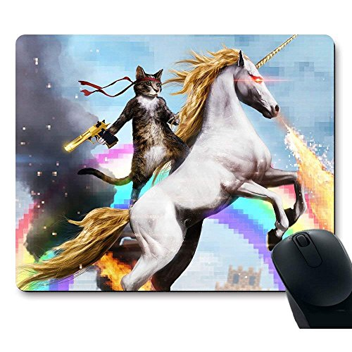 (F-MVP Mouse Pad, Funny Cute Cat Dressed as Rambo with Gun Riding a Glowing Red Eyes Fire Breathing Unicorn Customized Non-Slip Rubber Mousepad Gaming Mouse Pad)