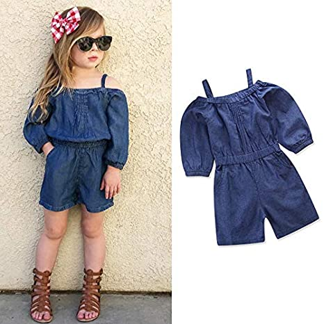 Longay Toddler Baby Kids Girls Off Shoulder Deinm Straps Jumpsuits Romper Clothes