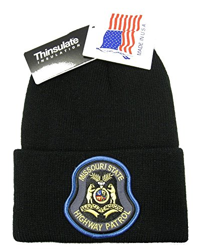 Highway Patrol Hats - Missouri Highway Patrol Knit Cap - 40 Gram Thinsulate Insulation - Black Hat