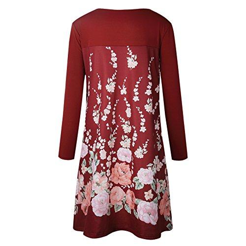 c9f5400ef85819 ... Damen Kleider Festlich Elegant Langarm Rundhals Blumenmuster Vintage  Ethno Style Locker Swing Fashion Frühjahr Herbst Casual ...