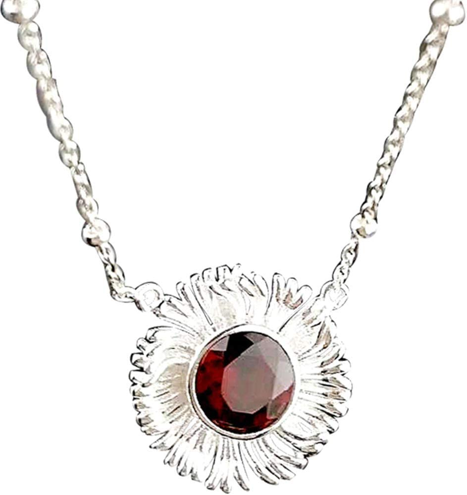 Collar de Piedras Preciosas Naturales, Collar de Plata esterlina Colgante de Granate de Moda Cadena de clavícula de Aproximadamente 18 Pulgadas de Largo