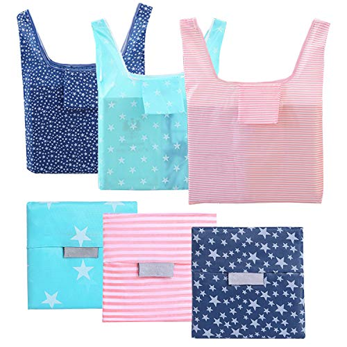 6 Pack Reusable Grocery Bags, Foldable Eco-Friendly Shopping Tote, Washable, Waterproof, Durable and Lightweight]()