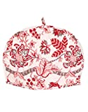 RAJRANG Cute Pink and Off White Cotton Tea Cosy - Indian Ethnic Floral Hand Block Printed Kettle Cover