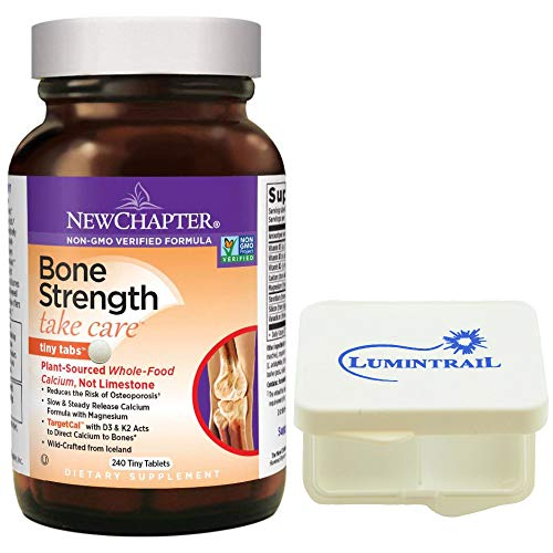 New Chapter Bone Strength Calcium Supplement Clinical Strength with Vitamins K2, D3-240 Tiny Tabs Bundle with a Lumintrail Pill Case ()