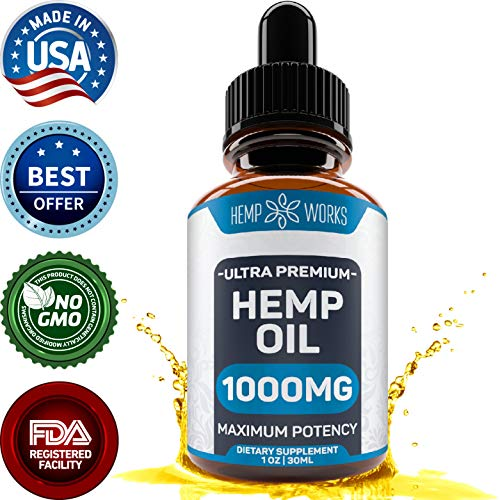 Hemp Oil Extract for Pain, Anxiety & Stress Relief - 1000mg - Double Advantage - Grown & Made in USA - Anti-Inflammatory and Joint Support - 100% Organic Hemp Drops - Helps with Sleep, Skin & Hair