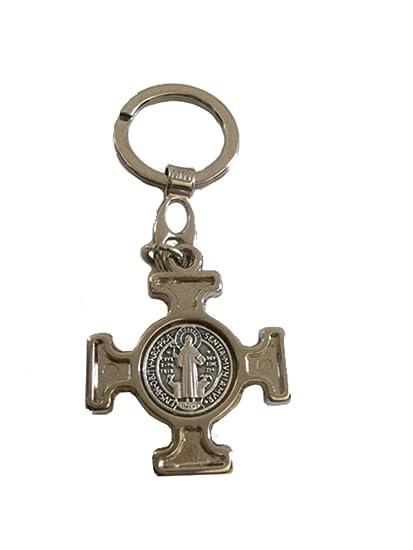 Silvered Saint Benedict Key Chain. Llavero San Benito