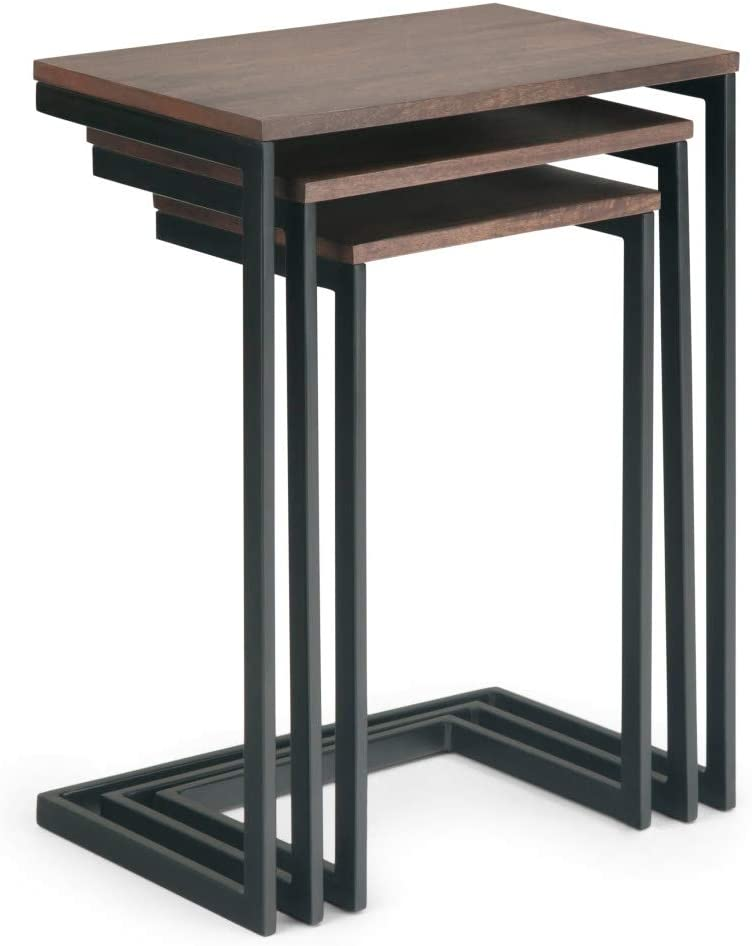 Simpli Home Burton Solid Mango Wood and Metal 18 inch wide Rectangle Modern Industrial 3 Pc Nesting Table in Hazelnut, Fully Assembled, for the Living Room and Bedroom