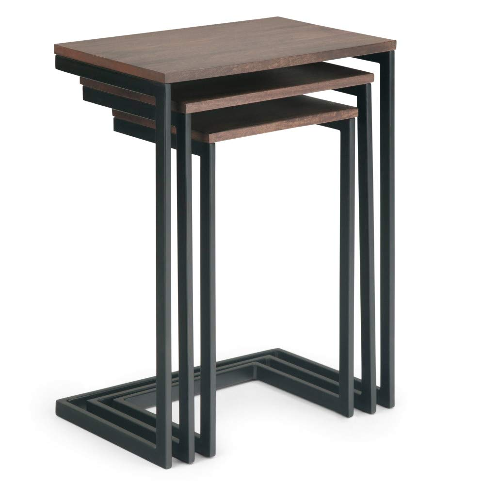 Simpli Home AXCBRT-05 Burton Solid Mango Wood and Metal 18 inch Wide Modern Industrial 3 Pc Nesting Table in Hazelnut, Fully Assembled by Simpli Home