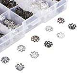 Pandahall 500pcs/box 5 Colors Iron Flower Bead Caps with a White Container for Jewelry Making End Caps