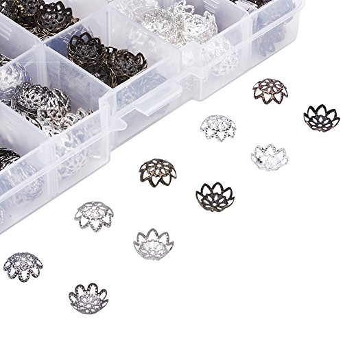 Pandahall 5 Colors Iron Filigree Flower Bead Caps Hole: 1mm Jewelry Making End Caps with Plastic Container About 525pcs/box (Filigree Bead End Cap)