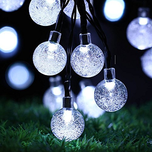 Solar Powered Globe String Lights (30 LED) - Decorative Outdoor Crystal Ball Bulbs for Home, Patio and Garden - Festive Waterproof Fairy Bubble Lighting for Cafes,Camping and Outdoors (Bright White)