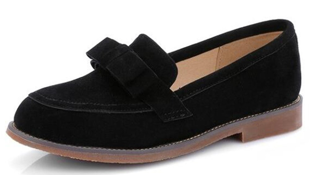 Easemax Women's Dressy Low Heels Slip On Faux Suede Oxfords with Bows Black 7.5 B(M) US by Easemax (Image #1)