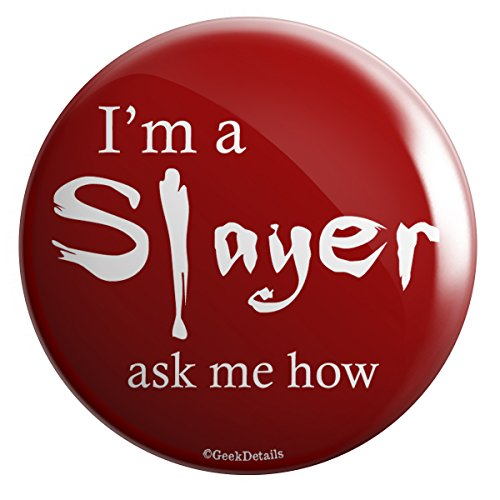 Geek Details Vampire Themed Pinback Button (I'm a Slayer Ask Me -