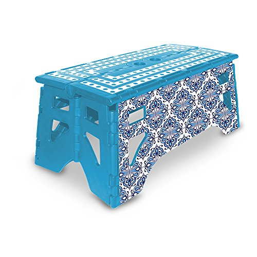 eXpace 13 Inch Wide Plastic Folding Step Stool for Adults, Supports up to 350 lbs, Non Slippery Multipurpose Platform, Blue Moroccan by eXpace