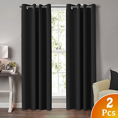 TURQUOIZE 2 Panels Solid Blackout Drapes, Jet Black, Themal Insulated, Grommet/Eyelet Top, Nursery/Living Room Curtains Each Panel 52