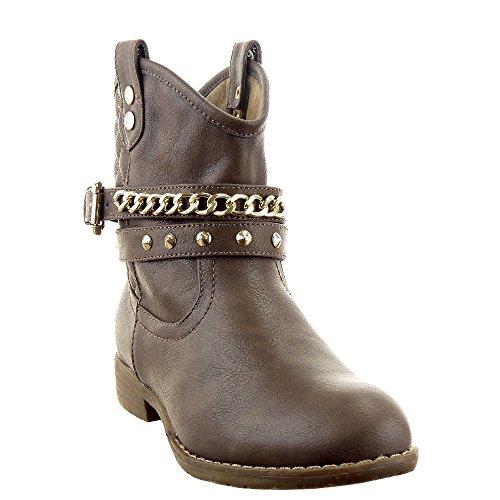 Sopily - Zapatillas de Moda Botines Western Santiags - Cowboy - Vaquero Low boots Tobillo mujer zapato acolchado Cadena tachonado Talón Tacón ancho 2.5 CM - plantilla textil - Caqui
