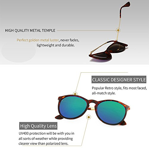 f90e4c8d694 Amazon.com  SUNGAIT Vintage Round Sunglasses for Women Classic Retro  Designer Style (Amber Frame Green Lens)  Clothing
