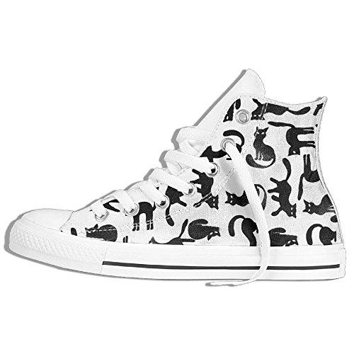 Gatti Neri High Top Classiche Scarpe Di Tela Moda Sneaker Bianco