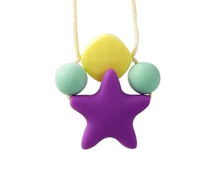 INCHANT Collar colgante, dentición y lactancia masticables para bebé de la estrella de silicona, collar para que la mamá lo use, no tóxico BPA y ...