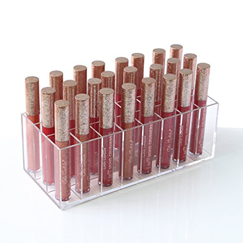 Mordoa Lip Gloss Holder Organizer, 24 Spaces Clear Acrylic M