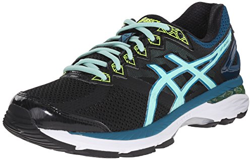 ASICS Women's GT-2000 4 Running Shoe, Black/Pool Blue/Flash Yellow, 9 M US