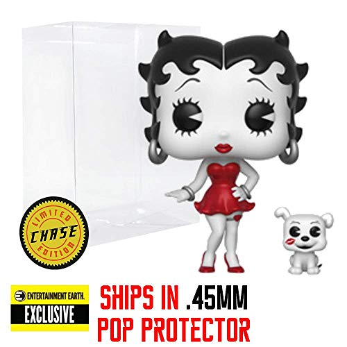 Funko Pop & Buddy: Betty Boop - Betty with Pudgy Black & White RED Dress Chase Entertainment Earth Exclusive Vinyl Figure (Bundled with Pop Box Protector Case) ()