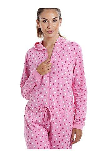 Pijama de una pieza con capucha - Algodón - Diseño de estrellitas - Rosa Rosa