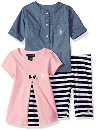 U.S. Polo Assn. Baby Girls Woven Shirt Knit PLTD FRNT Babydoll Tee and Striped Legging