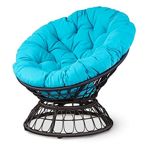 Outdoor Papasan Patio Chair With Blue Cushions Patio Garden Deck Furniture (Papasan Swivel Chair Cushion)