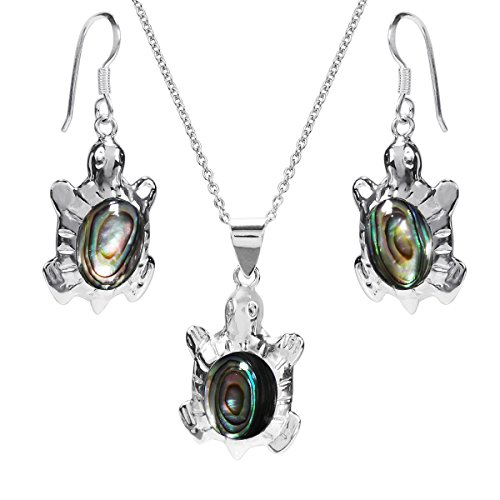 AeraVida Inlaid Abalone Shell Ocean Turtles .925 Sterling Silver Jewelry Set