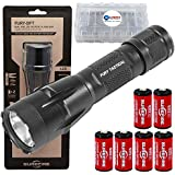 SureFire Fury DFT 1500 Lumen Tactical LED Flashlight Bundle with 4 Extra CR123A Batteries and Lightjunction Battery Case
