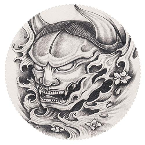 iPrint Round Tablecloth [ Kabuki Mask Decoration,Hand Drawn Malevolent Face Vicious Evil Monster with Blossoms Image Decorative,White Black ] Decorative Ideas for $<!--$154.52-->