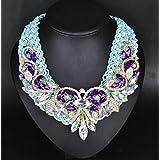 style12 purple - Women Fashion Pendant Crystal Flower Choker Chunky Statement Chain Bib Necklace