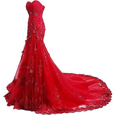 Felaladress Charming Long Appliques Sweetheart Mermaid Evening Prom Dress
