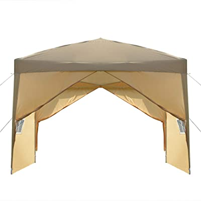 SHENWEI LIU Party Tent 3 x 3m Two Doors & Two Windows Practical Waterproof Right-Angle Folding Tent Khaki : Garden & Outdoor