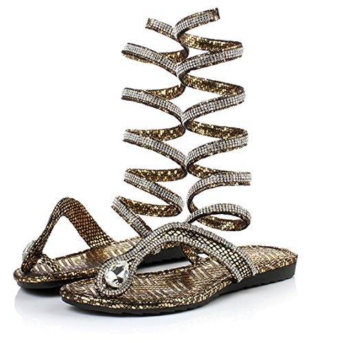 Sandal Elais Thong Women's Wrap Rhinestone up J Gladiator Gold Lace r88xZqgw0