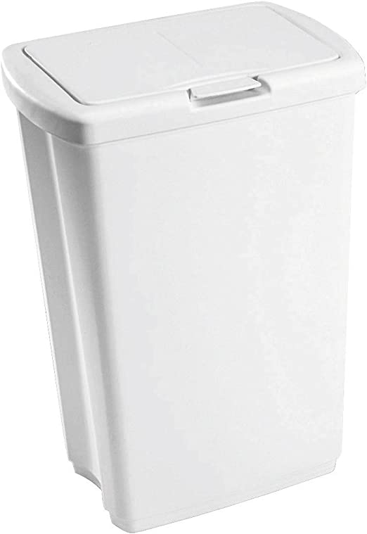 Superio Swing-Top Trash Can 50 Liter//13 Gal. White