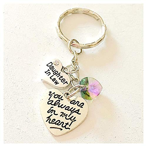 Daughter In Law Silver Charm Keychain Gift You Are Always in My Heart with Swarovski Crystal Pendant