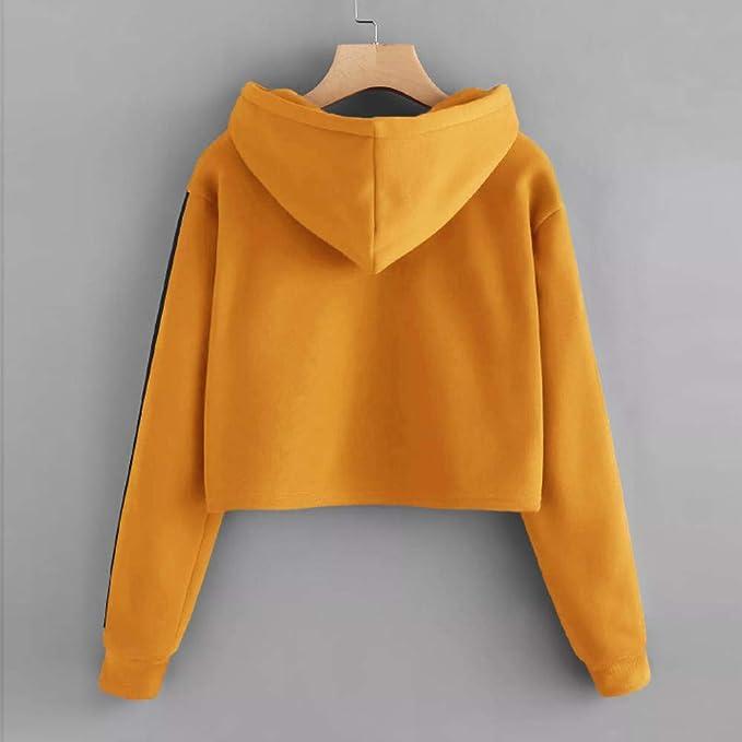 INLLADDY sweter damski dla nastolatkÓw i dziewcząt, bez brzucha, sweter z kapturem, z nadrukiem, z długim rękawem, krÓtka bluza z kapturem: Odzież