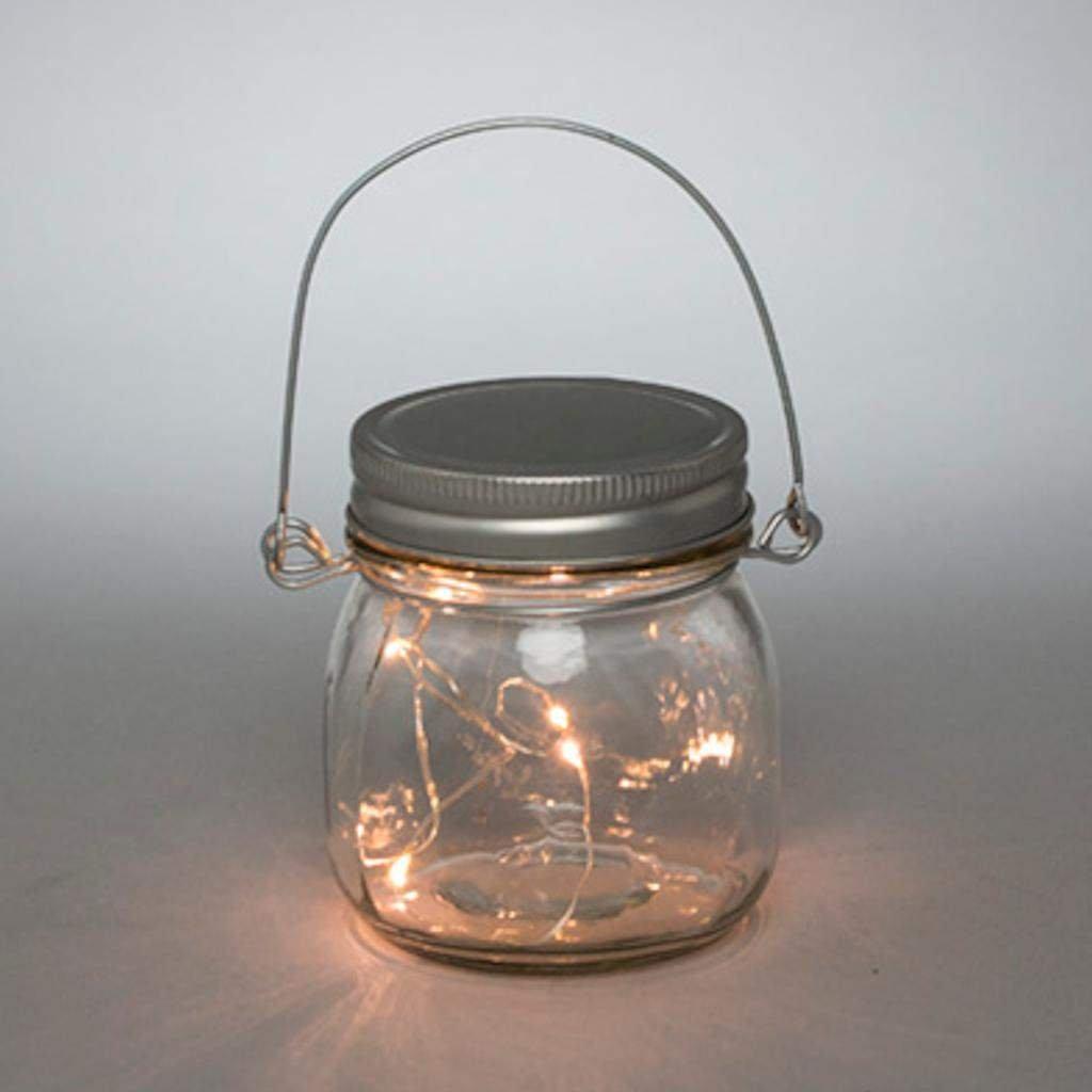 3.5InL x 3.5InW x 3.75InH Gerson 93250 S//4 3.75 H Lighted Mason Jars Home Decor Silver