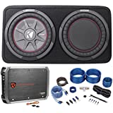 Package: Kicker 43TCWRT104 800W 10 Shallow Subwoofer Factory-Loaded In A Slim Kicker Enclosure With a Passive Radiator + Rockville RXA-T1 Car Amplifier 1500W Peak 2 Channel Bridgeable + Wire Kit