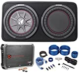"Package: Kicker 43TCWRT104 800W 10"" Shallow Subwoofer Factory-Loaded In A Slim Kicker Enclosure With a Passive Radiator + Rockville RXA-T1 Car Amplifier 1500W Peak 2 Channel Bridgeable + Wire Kit"