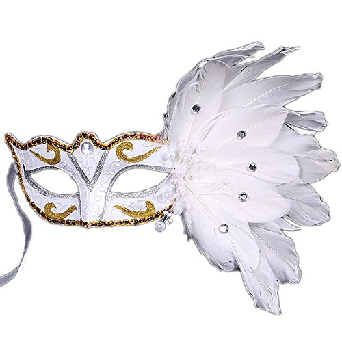Rehot Masquerade Mask for Women Feather Costume Prom Ball Mardi Gras Halloween Christmas Party Masks (White) (Feather Mask Mardi Gras White)